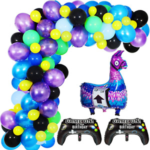 Video Game Party Balloon Garland Kit, 113PCS 12Inch Balloon Garland Including Bl