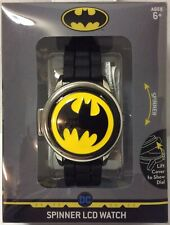 BATMAN Spinner Watch w/ Flip Cover & Black Silicone Wristband DC Comics Ages 6+