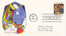 POSTAL HISTORY - FIRST DAY COVER FDC 1971 CHRISTMAS #2 FLEETWOOD CACHET RELIGIO