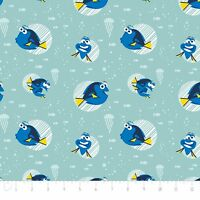 Disney Finding Dory Faces in Aqua Camelot 100% cotton fabric by the yard