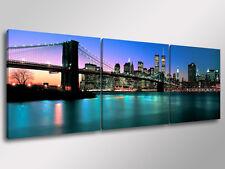 Quadro Moderno 3 pz. NEW YORK SKYLINE cm 150x50 arredamento città stampa su tela