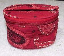Vera Bradley Mesa Red Small Round Soft Jewelry Case Bag VGC