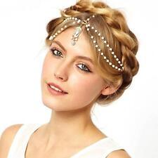 NEW Women Lady Pearl Beads Metal Head Chain Headpiece Hair Band Headband Jewelry