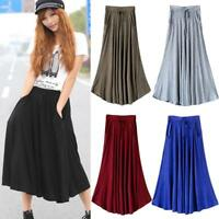 Womens Stretch Elastic High Waist Summer Pleated Flared Skirt Long Maxi D Dlxy.