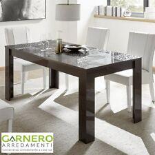 Tavolo MIRO grigio laccato lucido serigrafato 6 posti design sala da pranzo