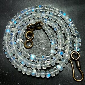 """Natural Rainbow Fire Moonstone 4.5 to 5.5 MM Faceted Rondelle Beads 16"""" Necklace"""