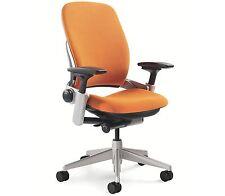 Steelcase Leap Chair Adjustable - Buzz2 Pumpkin Orange Fabric Desk Seat Platinum