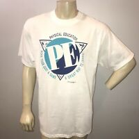 Vintage 90s 1994 Physical Education Tee Shirt Double Sided White Mens XL
