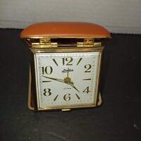 Vintage LINDEN Wind-up Travel Alarm Clock in Brown Clamshell Case ~ Works