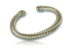 Designer Style Silver Twisted Cable Cuff Bracelet Polished Finish