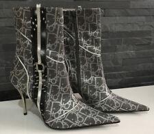 Dior Bottines Talons Hauts Chaussures Femmes Taille 38 Gris Clair/Argent NEUF