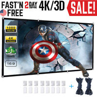 """84"""" 16:9 HD 3D 4K Movie Portable Projector Screen Outdoor Home Cinema Theater A"""