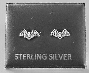 STERLING SILVER 925, STUD EARRINGS  BAT WITH BUTTERFLY BACKS  STUD 06