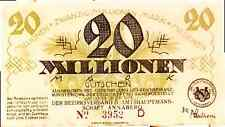 1923 Germany 20.000.000 / 20 million Mark Banknote Annaberg