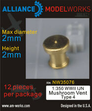 Alliance Model Works 1:350 WWII IJN Mushroom Vent Type 4 Detail Set #NW35076