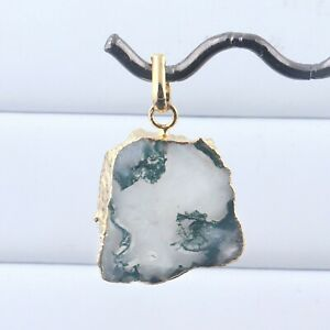 Hot Selling Genuine Moss Agate Yellow Gold Electroplated DIY Necklace Pendant