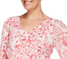 Hot In Hollywood Pleated Sleeve Top With Reversible Neck Size 1X Pink Floral
