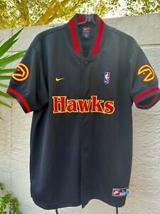 ATLANTA HAWKS NBA BLACK WARM-UP NIKE SNAP ON JACKET SZ L