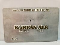 vintage  KOREAN AIR   AIRLINES Ticket metal Validation Plate
