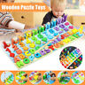 Digital Letter Geometry Shape Wooden Jigsaw Block Puzzle Education Toy Kid Gift!