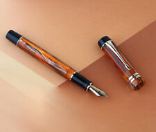 Moonman M600S Amber Resin Fountain Pen, Fine/ Medium / Bent Nib Gift Pen Writing