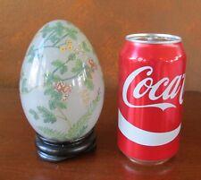 "Large Chinese Glass Reverse Hand Painted Rose Vine 5"" Peking Egg"