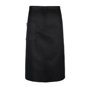 Bistro Apron Chef Works with One Pocket, for Women and Men, White and Black to