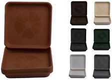 More details for set of 5 home garden ornaments square  plastic plant pot saucers drip trays
