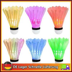 6Stück Set LED Federball Badmintonball leuchtend Leuchteball Spiel Ausrüstung DE