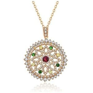 Made Using Swarovski Crystals The Laurelei Gold Round Colorful Necklace $149 S6