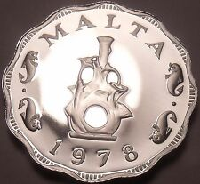 Rare Cameo Proof Malta 1978 5 Mils~Earthen lampstand~Only 3,244 Minted~Free Ship