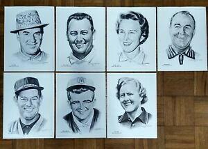 Vintage Wilson Golf Advisory Staff Prints Set/7  c.1960s Sam Snead, Gene Sarazen