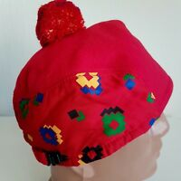 CONTE OF FLORENCE CAP HAT VINTAGE WOOL XMAS RED WINTER BIRETTA EAR FLAP L  58 59 e2a44d16601e