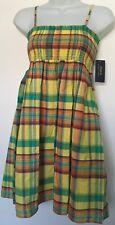 Ralph Lauren Girls Dress A-Line Sleeveless Shirred Bodice Madras Sz 8 NWT