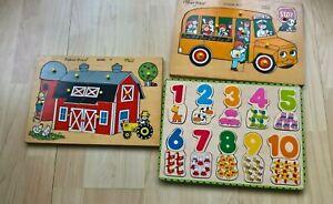 Three Vintage Fisher Price School Bus - Barn Wooden Jigsaw  Early 70s  -Bigjigs
