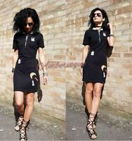 ZARA BLACK PATCHWORK SHORT BODYCON ZIP UP DRESS BNWT SIZE L 12