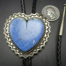Vintage NAVAJO Hand-Stamped Sterling Silver HEART SHAPED Denim Lapis BOLO Tie