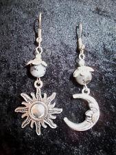 Silver Tone Sun & Crescent Moon Earrings Larvikite Gemstone Beads Moonstone