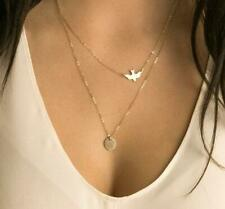 Boho Gold Dove Coin Layered Bird Sequin Choker Necklace Woman's Jewelry Gift