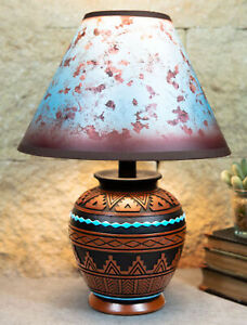 Indian Tribal Southwest Navajo Vector Brown Petite Vase Table Lamp With Shade