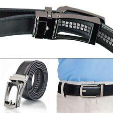 New Men Fashion PU Leather AutoLock Comfort Click Belt W/Steel Buckle Black #CL
