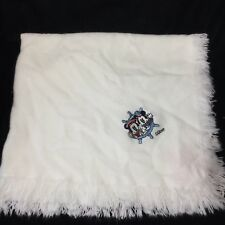 Red Calliope Mickey Mouse Minnie White Blanket Sailor Disney Fringe Nautical