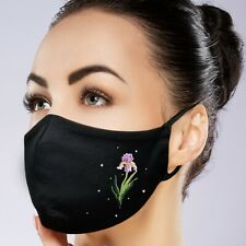 FaceMask Black Washable Filter Pocket Custom made Embroidery and Rhinestone