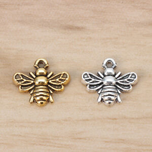 100 x Silver/Gold Tone Bumble Bee Honeybee Insects Charms Pendants Beads 13x11mm