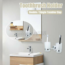 Double Tumbler Cup Toothbrush Holder Wall Mounted Rack Bathroom + 2 Glass Cups