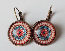 Ohrhänger Ethno Vintage Retro Mandala Kreis floral Cabochon rot antik bronze