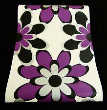 """8830-25-9) Design Papier Tapete """"Samba"""" Retro Blumen schwarz weiß lila silber"""