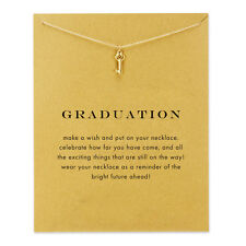 Sparkling Graduation Heart Key Necklace Gold Dipped