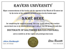 BALTIMORE RAVENS  PERSONALIZED FAN CERTIFICATE, GREAT GIFT