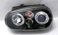 VW Golf 99-04 MK4 Black Projector Halo Angel Eye Headlights Pair RH LH
